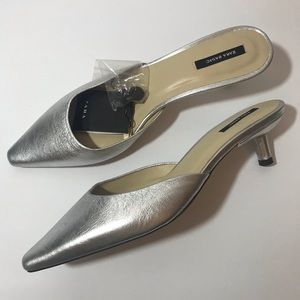 *ZARA* NWT Silver-Toned Leather Mid Heel Mules
